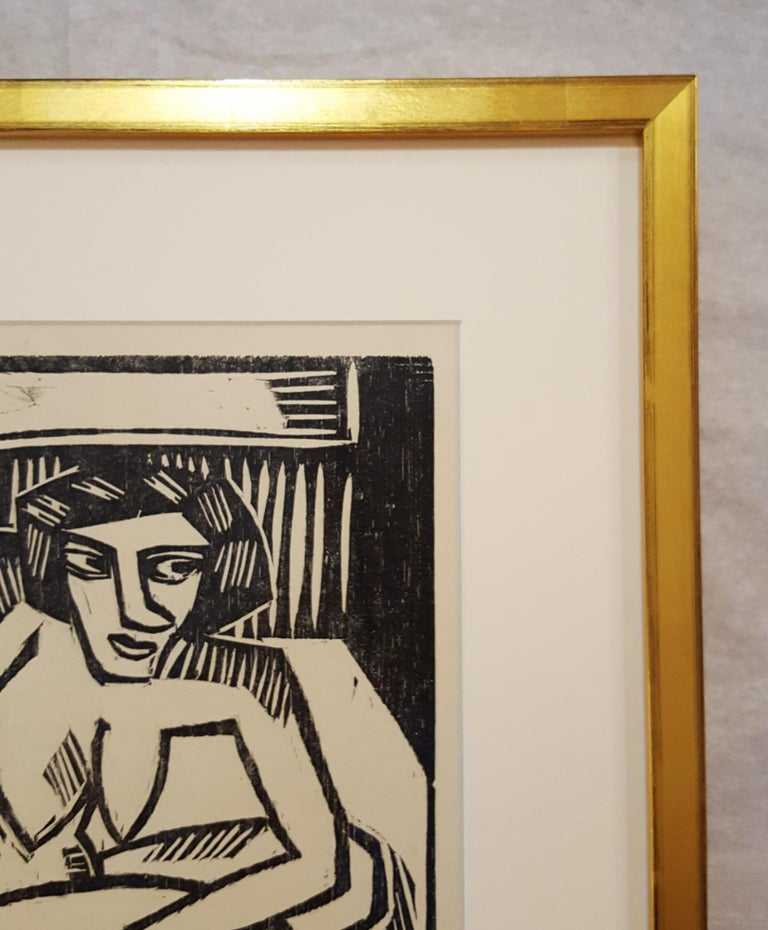 An original woodcut engraving on smooth cream wove paper by German artist Karl Schmidt-Rottluff (1884-1976) titled