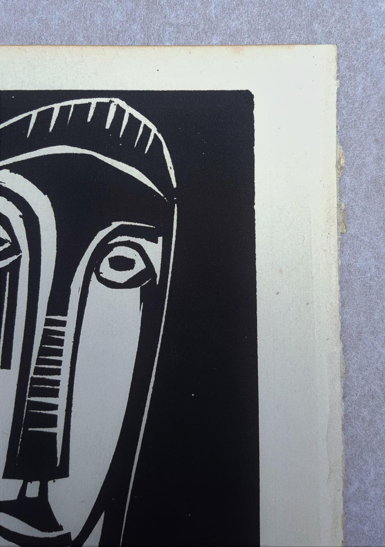 An original woodcut engraving on watermarked wove paper by German artist Karl Schmidt-Rottluff (1884-1976) titled