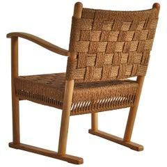 Karl Schrøder Lounge Chair in Beech & Woven Seagrass made at Fritz Hansen, 1940s