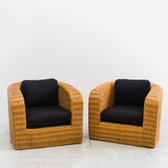 Karl Springer, Set of Four Wicker Pullman Chairs, USA, 1985