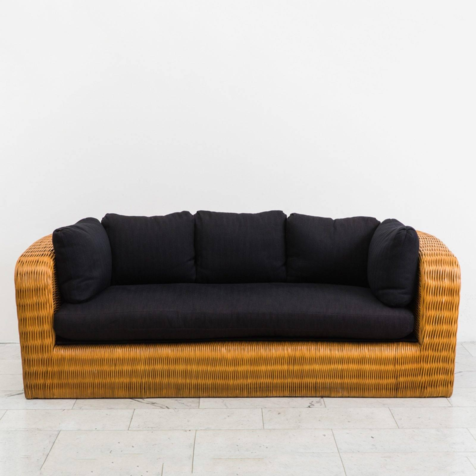 Karl Springer, Wicker Pullman Sofa, USA, 1985