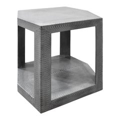Karl Springer 2 Tier Hexagonal Side Table in Gray Cobra, 1985, 'Signed'