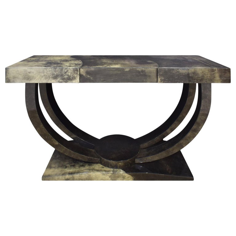 "Karl Springer ""Art Deco Console Table"" in Lacquered Goat Skin, 1970s For Sale"