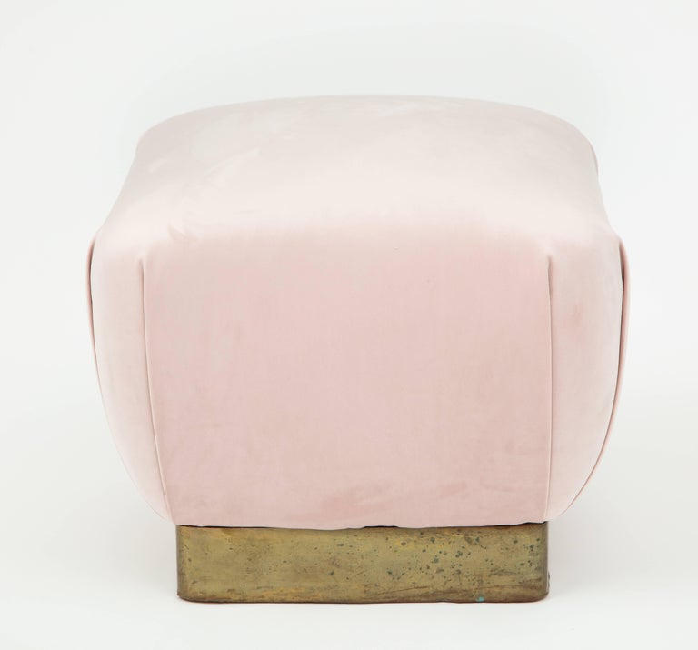 Mid-Century Modern Pair of Brass and Pink Pouf's Ottoman's, 1970s For Sale