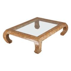 Karl Springer Attributed Coconut Veneered Coffee Table, 1970s-1980s