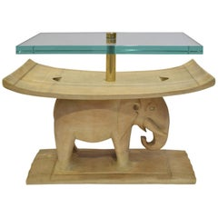 Karl Springer Authentic African Elephant Table with Floating Glass Top, 1980s