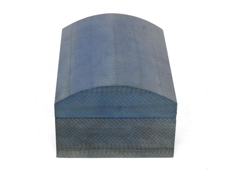 Mid-Century Modern Karl Springer Azure Blue Snake Skin Covered Box For Sale