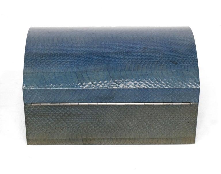 American Karl Springer Azure Blue Snake Skin Covered Box For Sale