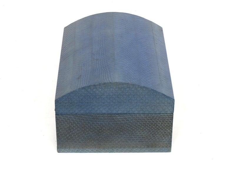Lacquered Karl Springer Azure Blue Snake Skin Covered Box For Sale
