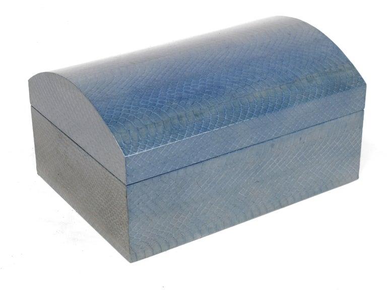 Late 20th Century Karl Springer Azure Blue Snake Skin Covered Box For Sale