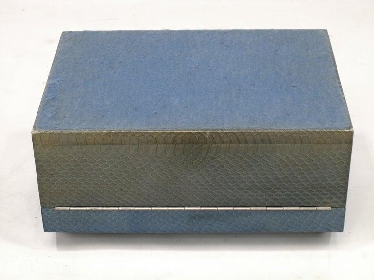 Python Karl Springer Azure Blue Snake Skin Covered Box For Sale