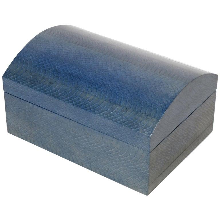 Karl Springer Azure Blue Snake Skin Covered Box For Sale