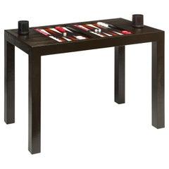 Karl Springer Backgammon Table in Embossed Lizard Leather 1970s