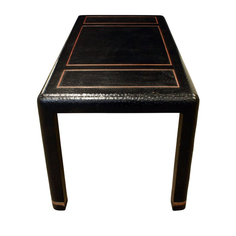 Hand-Crafted Karl Springer Backgammon Table with Folding Chairs in Ostrich, 1970s, 'Signed' For Sale
