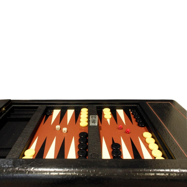 Late 20th Century Karl Springer Backgammon Table with Folding Chairs in Ostrich, 1970s, 'Signed' For Sale