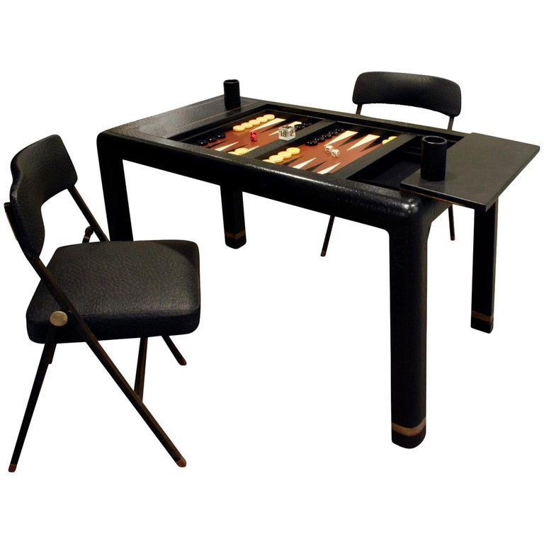 Karl Springer Backgammon Table with Folding Chairs in Ostrich, 1970s, 'Signed' For Sale