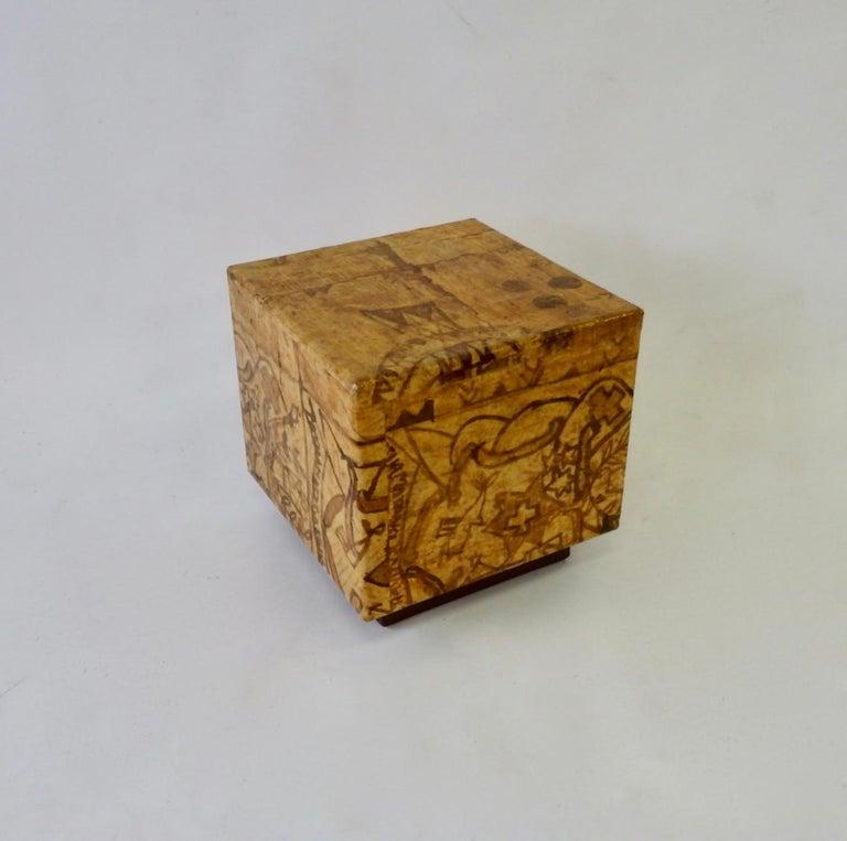 Batik Covered Cube Pedestal or Side Table on Plinth Base ...