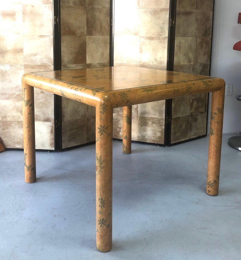 A rare table by Karl Springer. Beautifully covered in batik with a subtle elegant design.