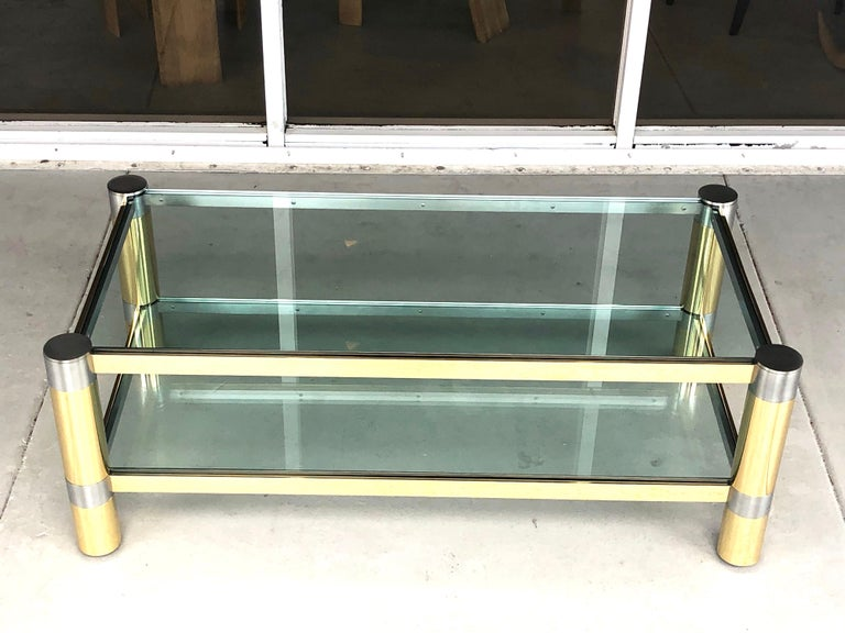 Karl Springer Brass and Brushed Steel Coffee Table, 1970s For Sale 5