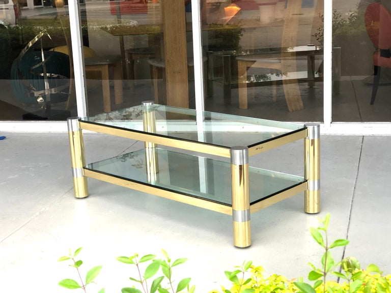 American Karl Springer Brass and Brushed Steel Coffee Table, 1970s For Sale