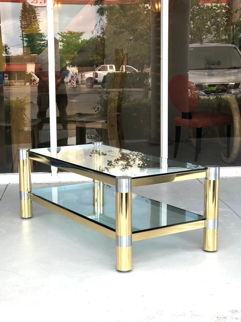 Karl Springer Brass and Brushed Steel Coffee Table, 1970s In Good Condition For Sale In Miami, FL