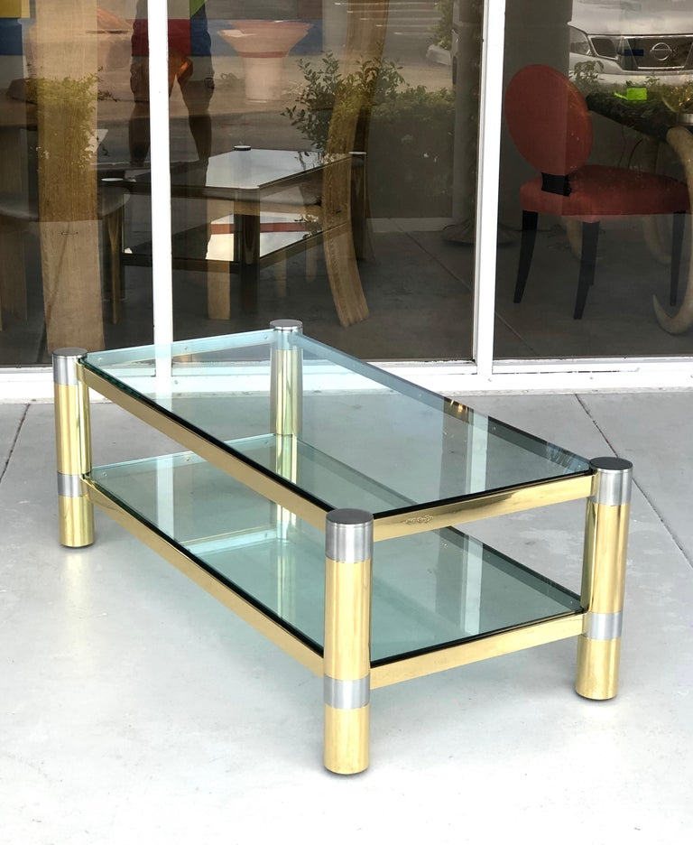 Late 20th Century Karl Springer Brass and Brushed Steel Coffee Table, 1970s For Sale