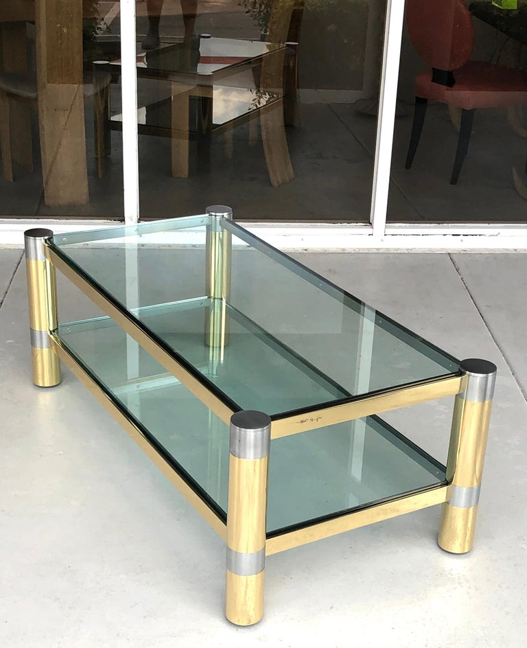 Karl Springer Brass and Brushed Steel Coffee Table, 1970s For Sale 1