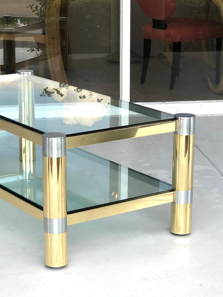 Karl Springer Brass and Brushed Steel Coffee Table, 1970s For Sale 2