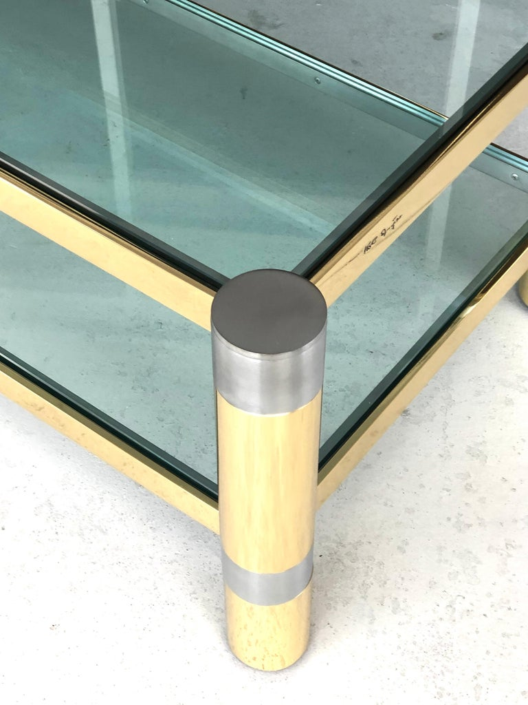Karl Springer Brass and Brushed Steel Coffee Table, 1970s For Sale 3