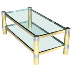 Karl Springer Brass and Brushed Steel Coffee Table, 1970s