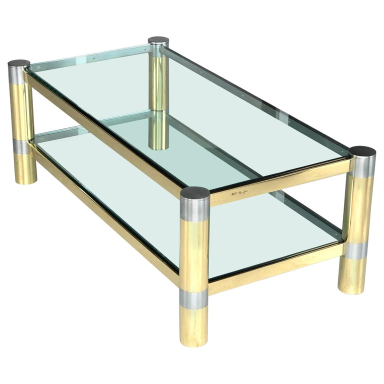 Karl Springer Brass and Brushed Steel Coffee Table, 1970s For Sale