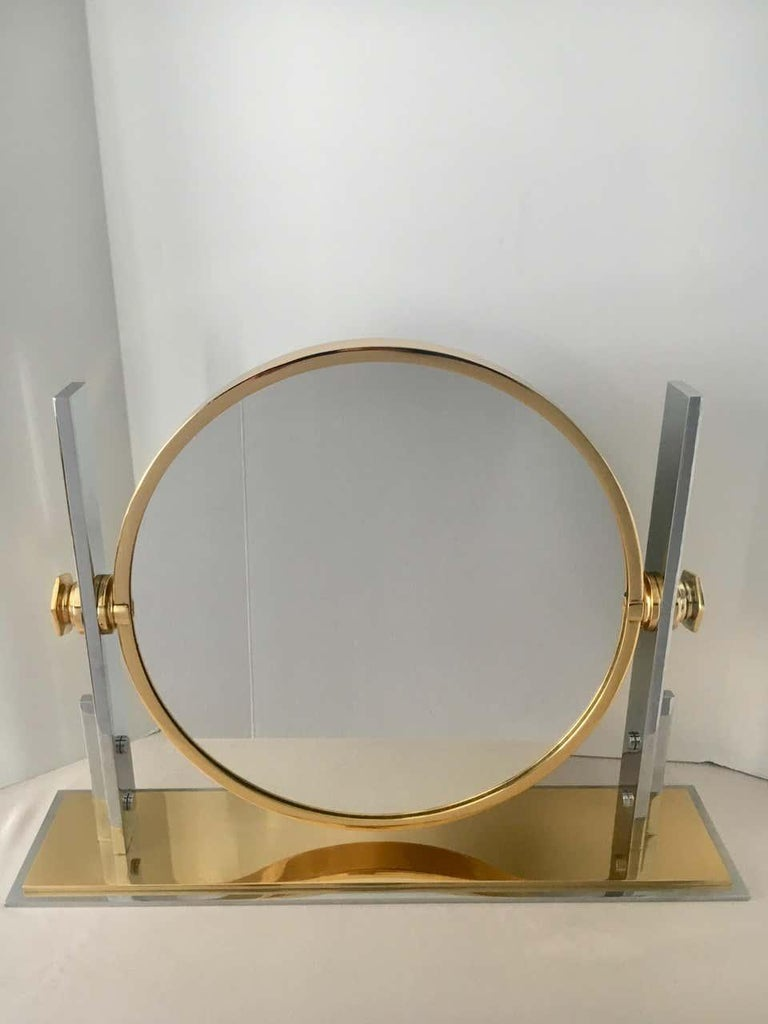 Polished Karl Springer Brass and Chrome Table Mirror For Sale