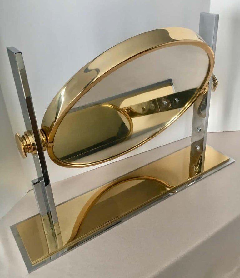 Karl Springer Brass and Chrome Table Mirror In Fair Condition For Sale In Los Angeles, CA
