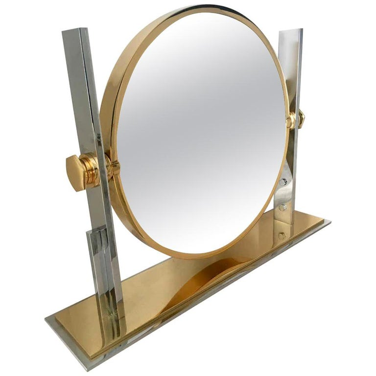 Karl Springer Brass and Chrome Table Mirror For Sale
