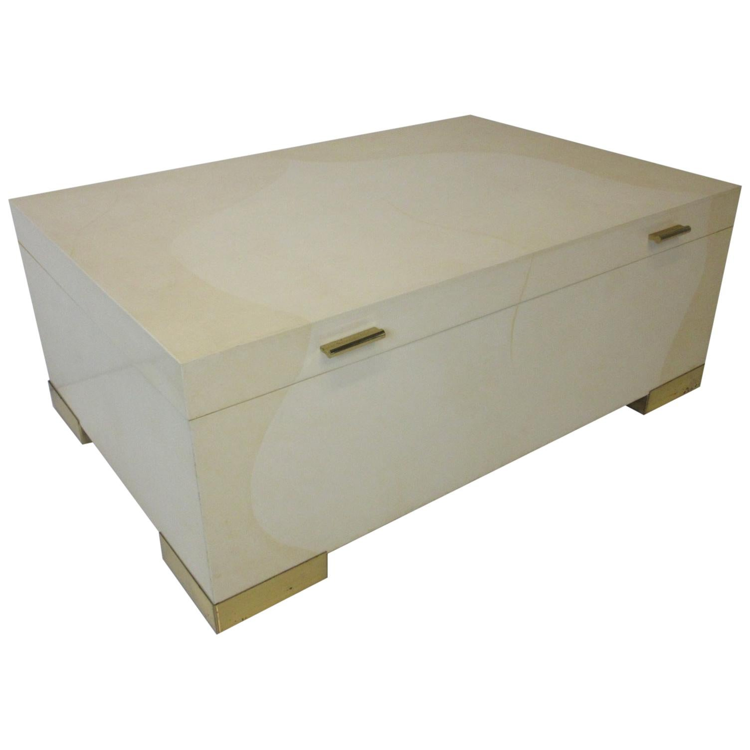 Karl Springer Brass and Goatskin Coffee Table with Storage