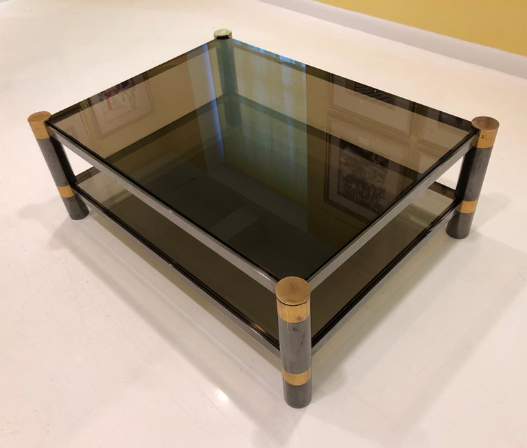 Modern Karl Springer Brass and Gunmetal Coffee Table, Signed For Sale