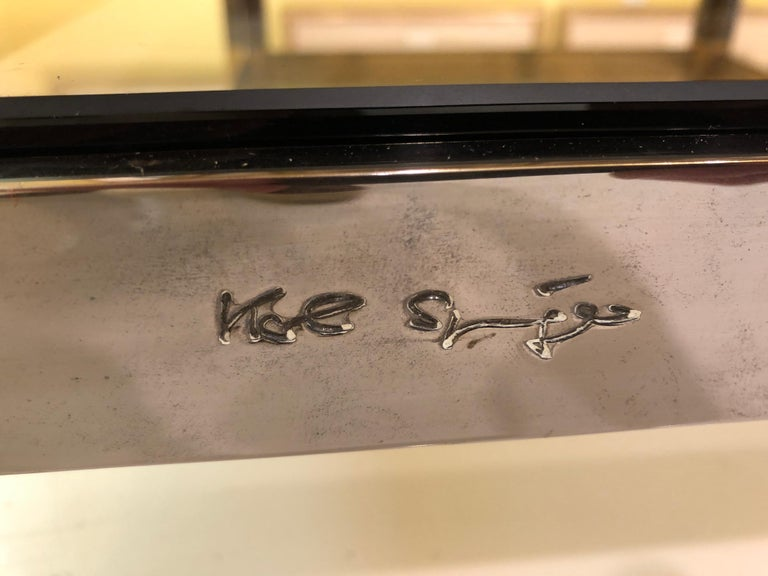 American Karl Springer Brass and Gunmetal Coffee Table, Signed For Sale