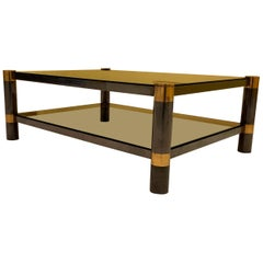 Karl Springer Brass and Gunmetal Coffee Table, Signed