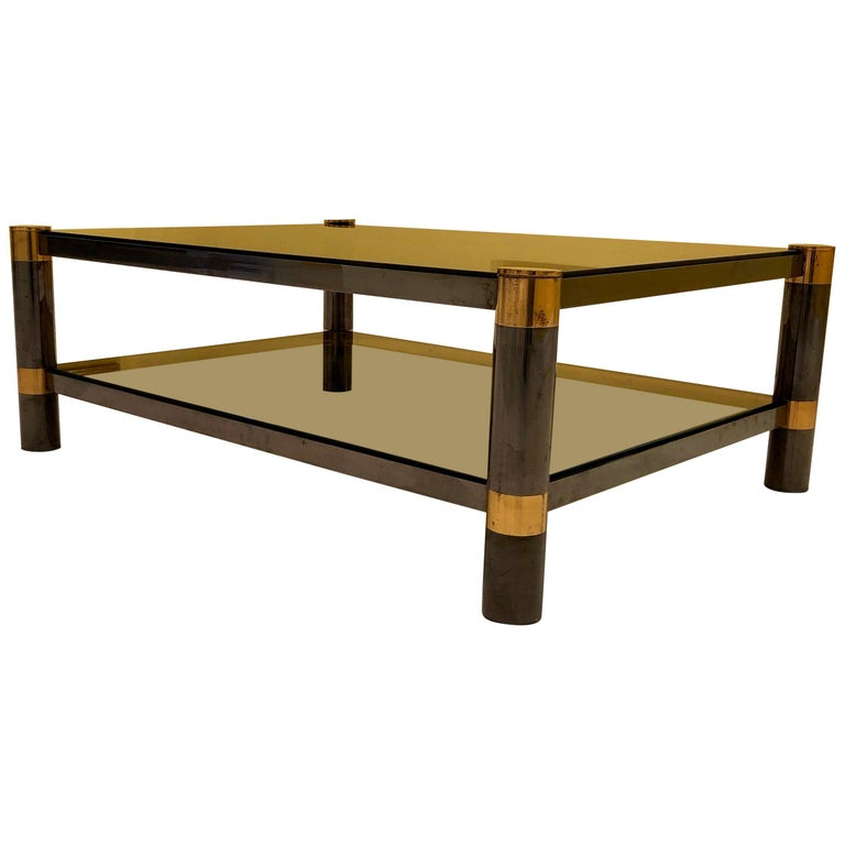 Karl Springer Brass and Gunmetal Coffee Table, Signed For Sale