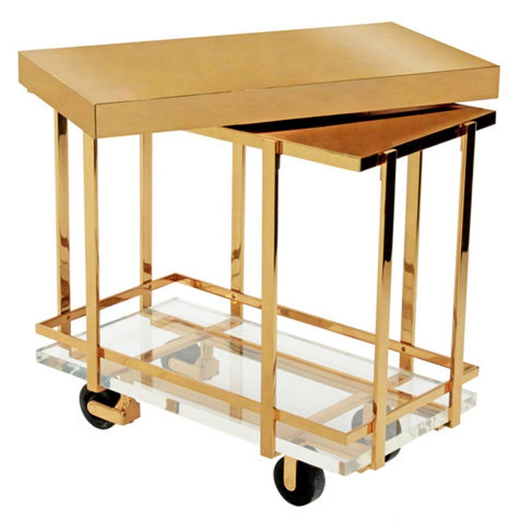 """""""Brass & Lucite Bar-Cart"""" with swiveling top by Karl Springer, American 1980's. This piece is beautifully made.  Reference: Karl Springer LTD red binder catalog published in the 1980's, section """"coffee, end tables & bar carts"""", on page 12 there"""