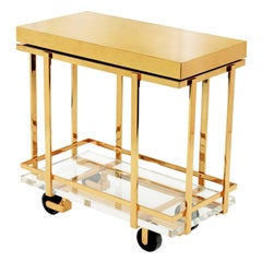 "Karl Springer ""Brass and Lucite Bar-Cart"", 1980s"