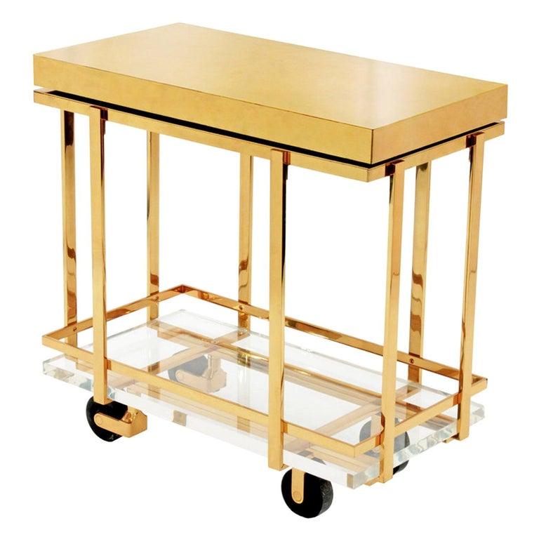 "Karl Springer ""Brass and Lucite Bar-Cart"", 1980s For Sale"