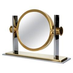 Karl Springer Brass and Nickel Vanity Mirror