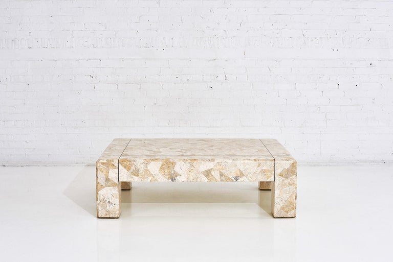 Mid-Century Modern Karl Springer Brass and Tessellated Travertine Coffee Table, 1970 For Sale