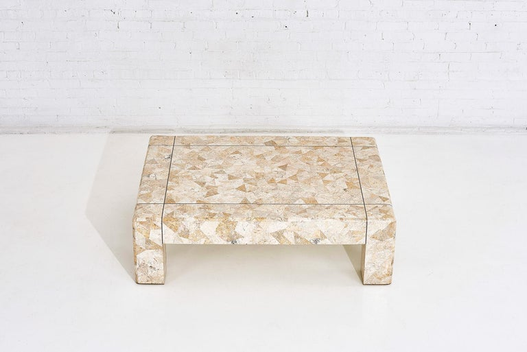 American Karl Springer Brass and Tessellated Travertine Coffee Table, 1970 For Sale