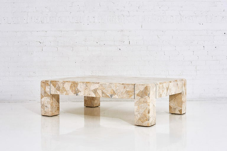 Karl Springer Brass and Tessellated Travertine Coffee Table, 1970 In Excellent Condition For Sale In Chicago, IL