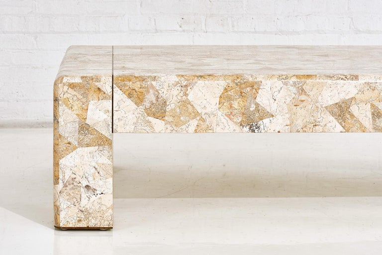 Late 20th Century Karl Springer Brass and Tessellated Travertine Coffee Table, 1970 For Sale