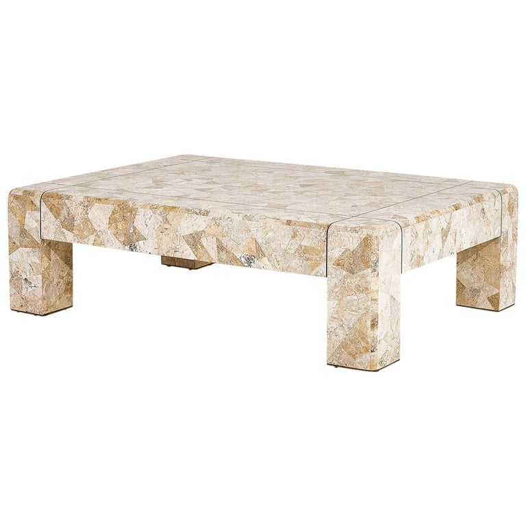 Karl Springer Brass and Tessellated Travertine Coffee Table, 1970 For Sale