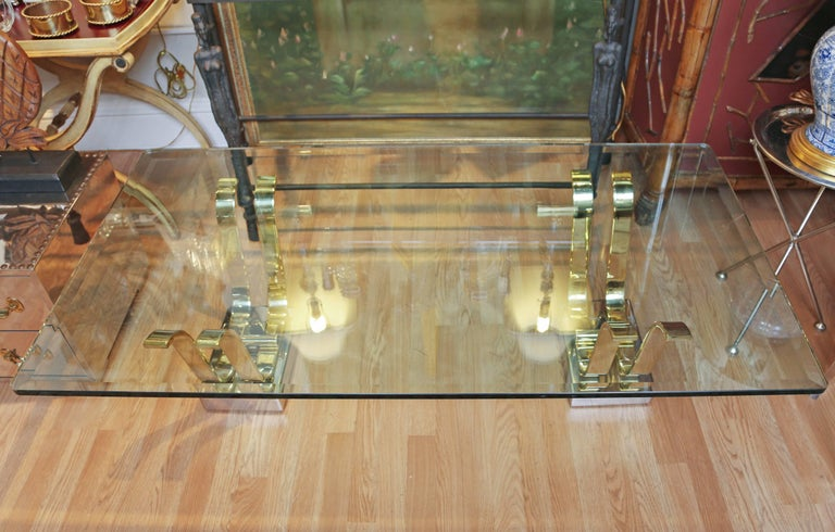Karl Springer Brass, Chrome and Glass Cocktail Table In Good Condition For Sale In West Palm Beach, FL