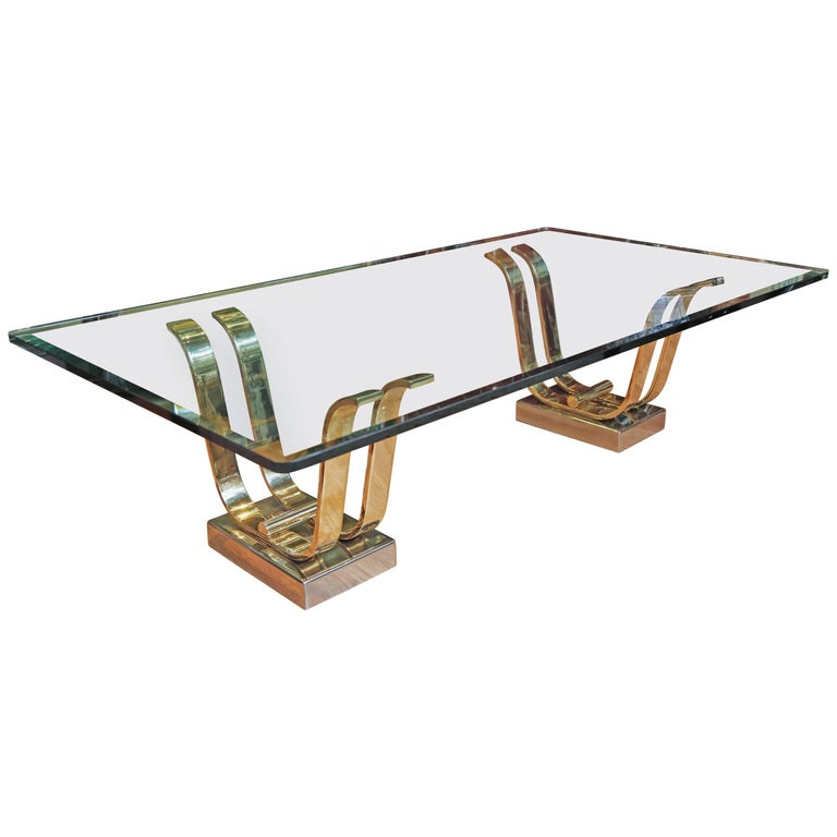Karl Springer Brass, Chrome and Glass Cocktail Table For Sale